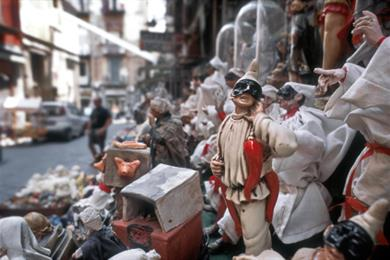 Puppets of Pulcinella, typical masquerade character in the centre of Napoli