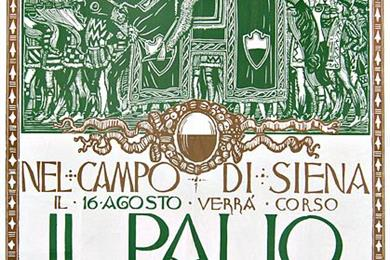 Una locandina del Palio di Siena