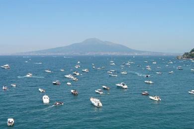 Day at the beach with Vesuvius in the background